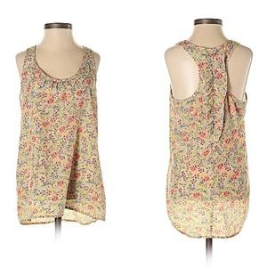 Candies Floral Silky Ruffle Racer Back Tank Top